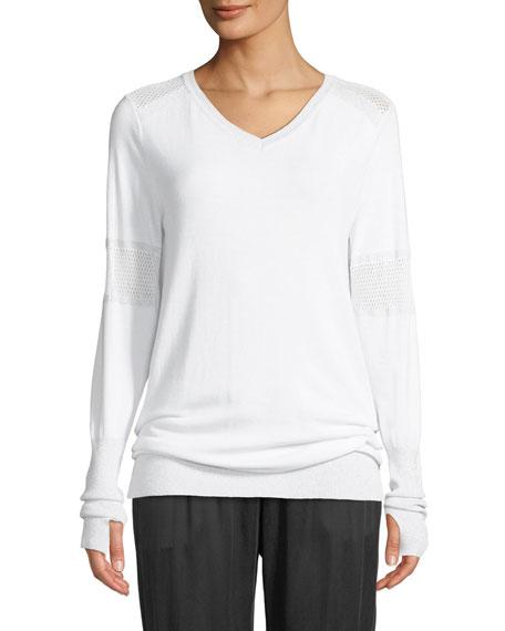 Blanc Noir Spirit Mesh-Insert V-Neck Pullover Sweater