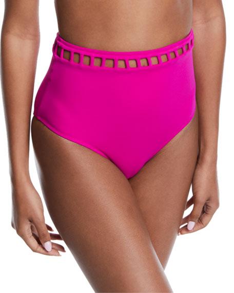 Ela Cutout High-Waist Bikini Swim Bottoms