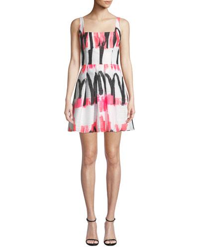 Camila Modern Scribble-Print Fit-&-Flare Dress