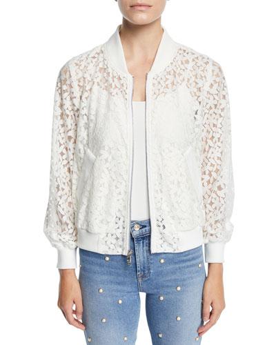 Floral Lace Bomber Jacket