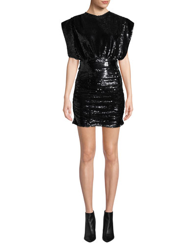 Miracle Sequin Crewneck Short-Sleeve Mini Dress