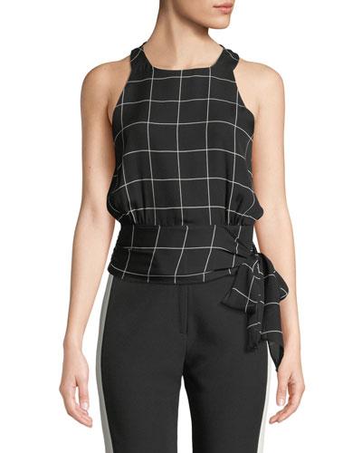 Lauren Check Silk Sash-Tie Top