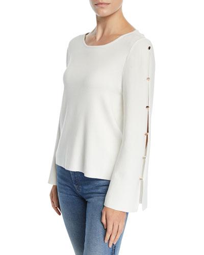 Button-Sleeve Viscose-Blend Pullover