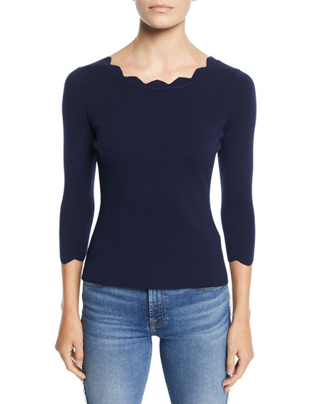 Milly Silks SCALLOPED-NECK 3/4-SLEEVE PULLOVER