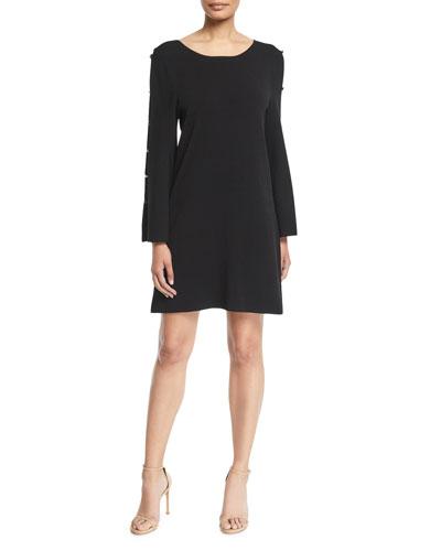 Button-Sleeve Shift Dress