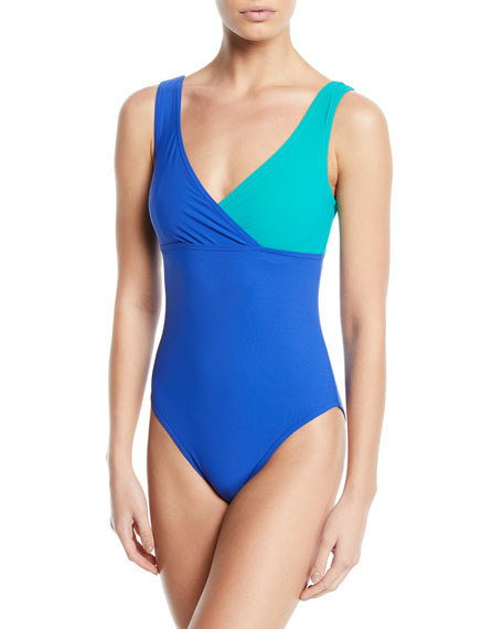 Karla Colletto Suits HELENE SURPLICE COLORBLOCK ONE-PIECE SWIMSUIT