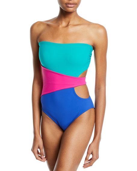 Karla Colletto Marcella Bandeau Colorblock One-Piece Swimsuit
