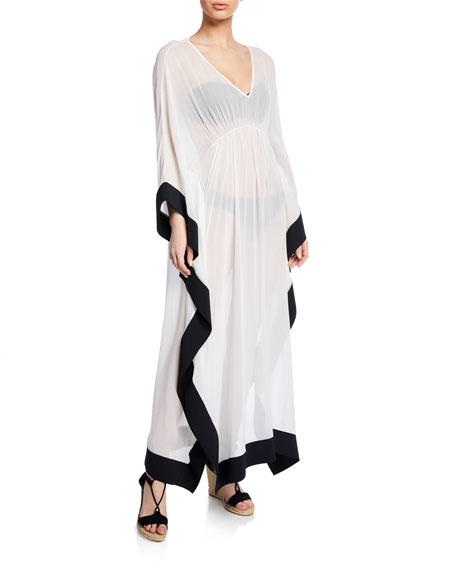 Naia Silk V-Neck Long Caftan Coverup