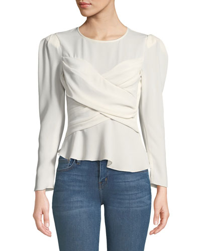 Scene Strong-Shoulder Crepe Wrap Blouse