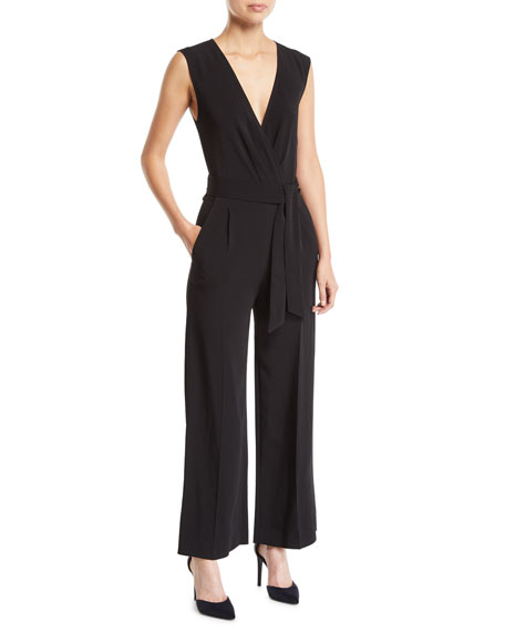Crew V-Neck Sleeveless Belted Jumpsuit w/ Pockets