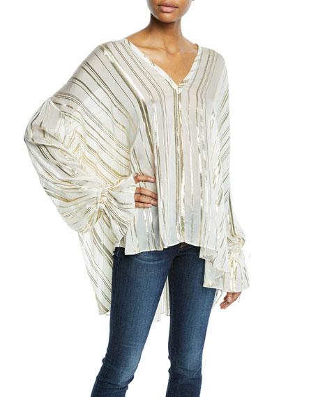 Adore Metallic Striped Long-Sleeve Top