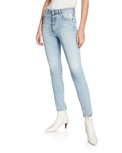 Gaety Ankle Skinny Button Fly Jeans