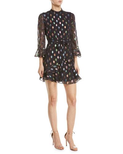 Marissa Metallic Ruffle High-Neck Mini Dress