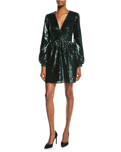 Camille Sequined Long-Sleeve Cocktail Dress