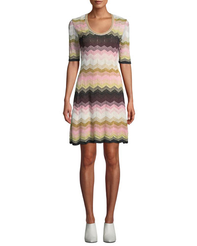 Short Chevron Jacquard Short-Sleeve Dress