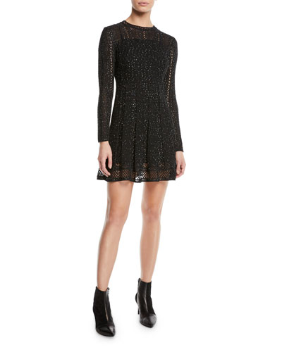 Mini-Sequin Long-Sleeve Dress