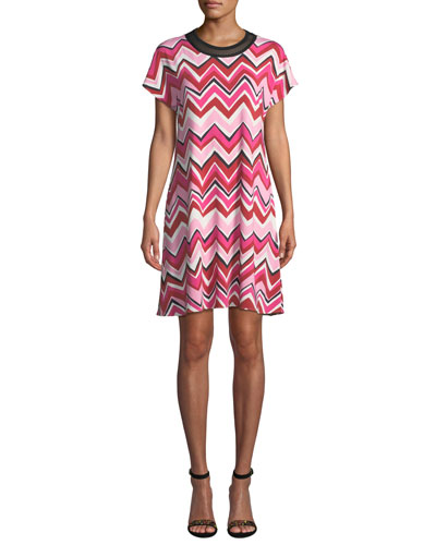 Short Cap-Sleeve Zigzag Jersey Dress