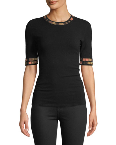 Short-Sleeve Crewneck Top with Metallic Trim