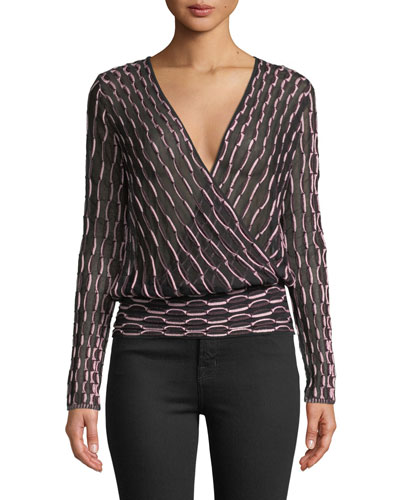 Long-Sleeve V-Neck Jacquard Top