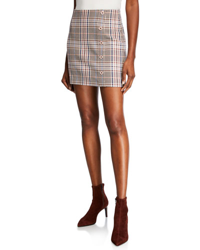 Filter Plaid Mini Skirt with Button Detail