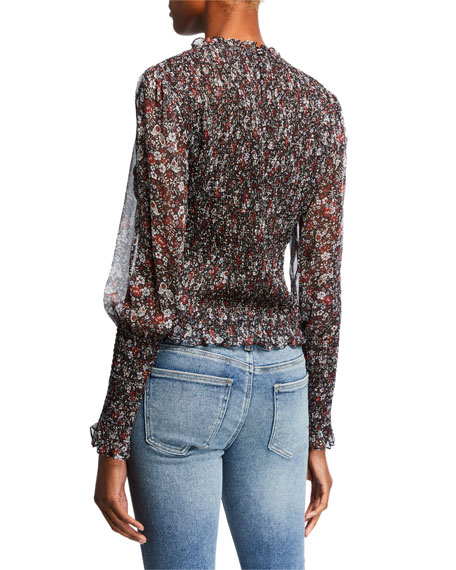 Faire Crewneck Bishop-Sleeve Smocked Floral-Print Top