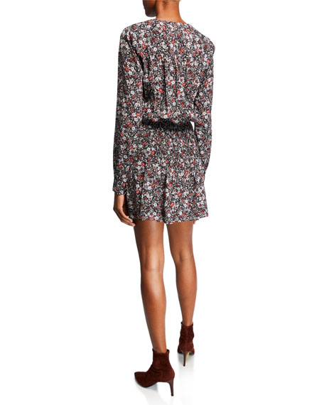 Naomi V-Neck Long-Sleeve Floral-Print Mini Dress