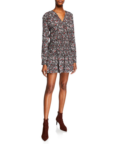 Naomi V-Neck Long-Sleeve Floral-Print Mini Dress