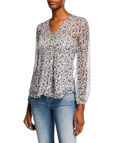 Lowell V-Neck Long-Sleeve Floral-Print Blouse
