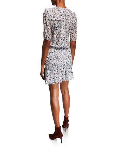 465ef172ddc Veronica Beard Dakota V-Neck Short-Sleeve Floral-Print Mini Dress