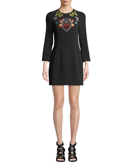 Cinq À Sept JOSEPHINE EMBROIDERED CREPE SHORT DRESS