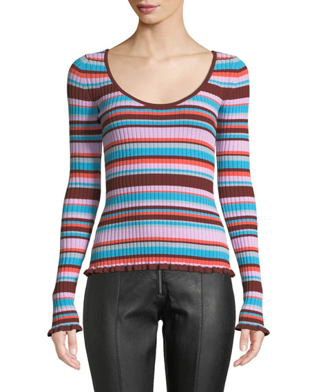 Cinq À Sept ESTELLA STRIPED RIBBED LONG-SLEEVE TOP