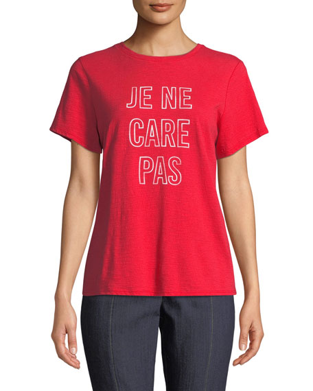 Cinq À Sept JE NE CARE PAS SHORT-SLEEVE GRAPHIC TEE