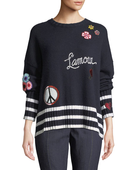Cinq À Sept LEONA EMBROIDERED GRAPHIC PULLOVER SWEATER