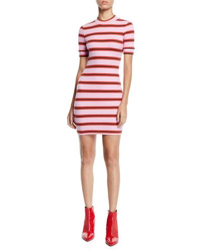 Zaria Striped Crewneck Mini Dress