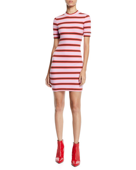 Cinq À Sept ZARIA STRIPED CREWNECK MINI DRESS