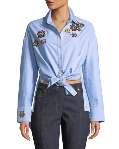 Arleigh Embroidered Button-Front Top