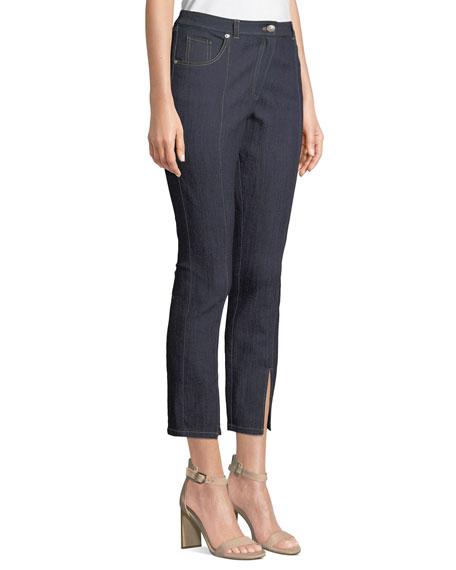 Rosa Mid-Rise Split Straight-Leg Pants