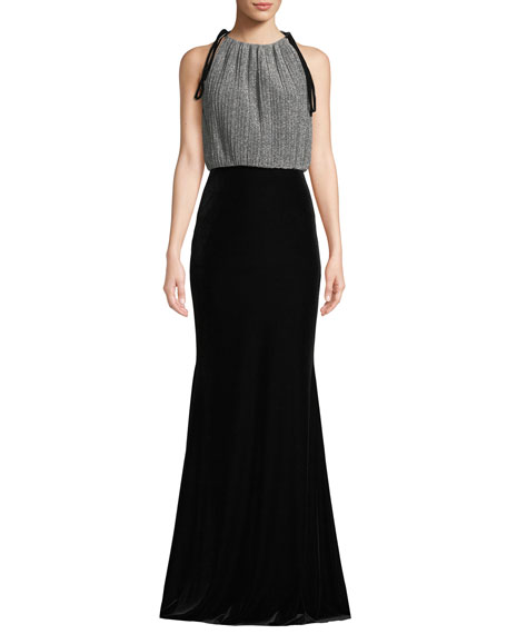 Badgley Mischka Collection Metallic Combo Pleated Halter Gown