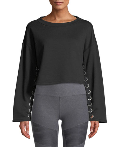 Suspension Lace-Up Cropped Pullover Sweater