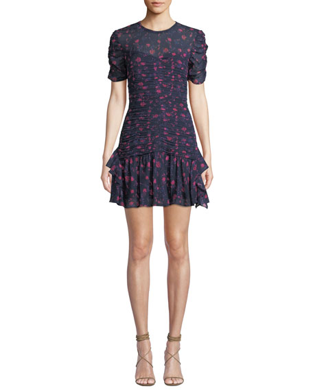 Tanya Taylor CARTI FLORAL RUCHED SHORT FLOUNCE DRESS