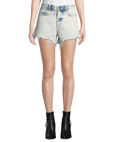alexanderwang.t Bite High-Rise Cutoff Bleached Denim Shorts