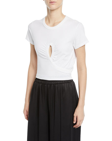 High Twist Jersey Cropped Tee with Keyhole