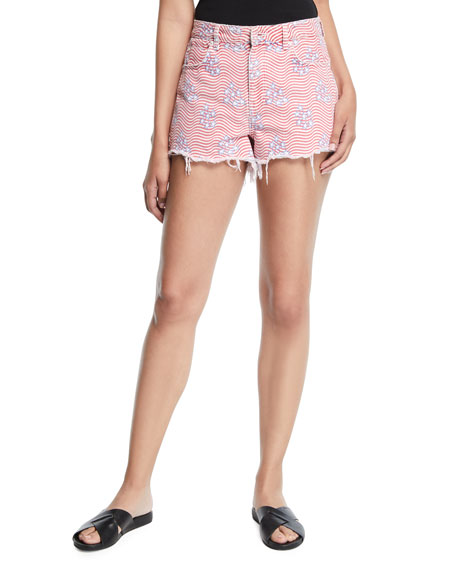 alexanderwang.t Bite Star-Print Cutoff Denim Shorts