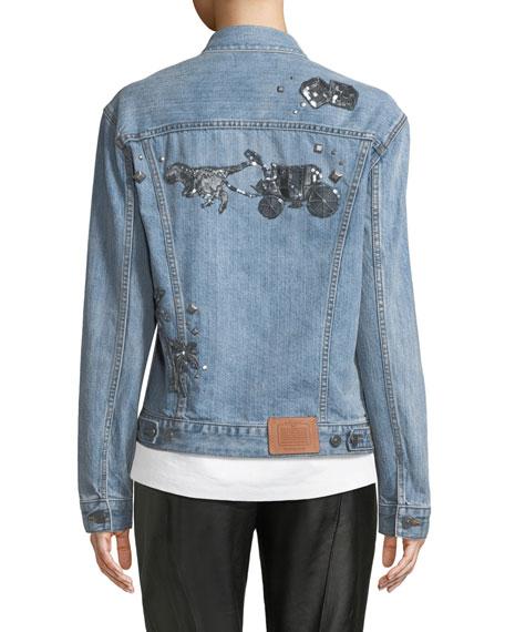 Embellished Denim Trucker Jacket
