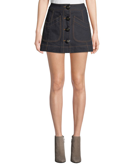 Coach Button-Front Denim Mini Skirt with Topstitching