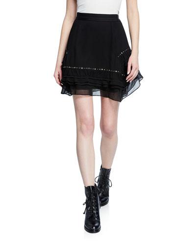 Short Embellished Flounce Skirt