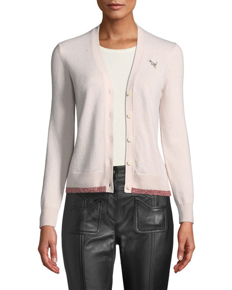 Coach Rexy Patch Metallic Wool-Cashmere Cardigan