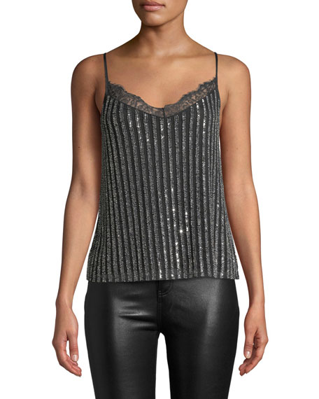 Cami Nyc LENNOX EMBELLISHED V-NECK CAMI WITH LACE