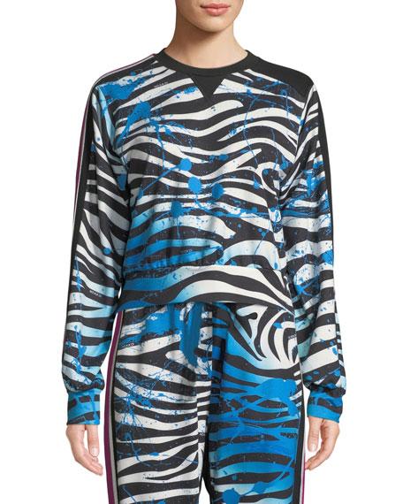 No Ka Oi Nola Zebra-Print Cropped Sweatshirt