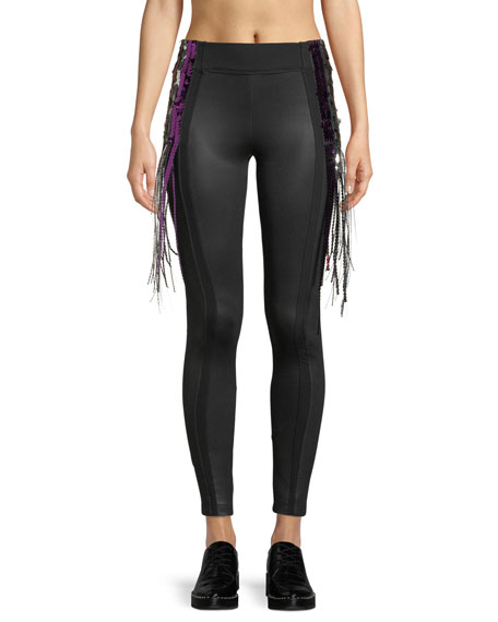 No Ka'oi ALOHA PANELED SEQUIN LEGGINGS WITH FRINGE